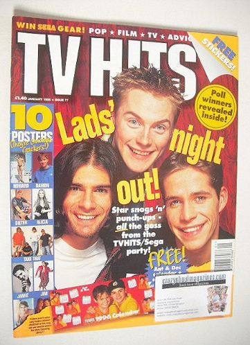<!--1996-01-->TV Hits magazine - January 1996 - Lads' Night Out cover