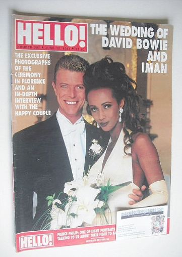 <!--1992-06-13-->Hello! magazine - David Bowie and Iman wedding cover (13 J