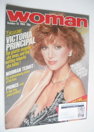 <!--1984-10-13-->Woman magazine - Victoria Principal cover (13 October 1984