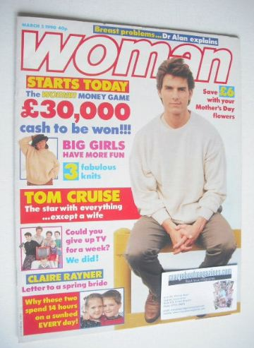 <!--1990-03-05-->Woman magazine - Tom Cruise cover (5 March 1990)