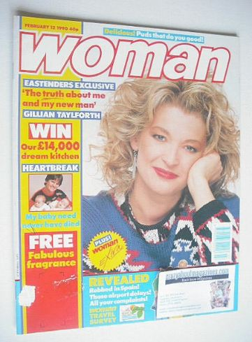 <!--1990-02-12-->Woman magazine - Gillian Taylforth cover (12 February 1990