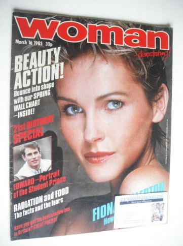 <!--1985-03-16-->Woman magazine - Fiona Fullerton cover (16 March 1985)