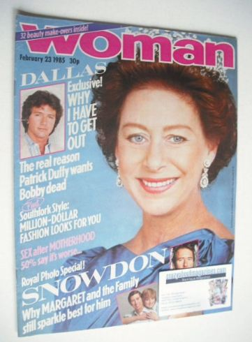<!--1985-02-23-->Woman magazine - Princess Margaret cover (23 February 1985