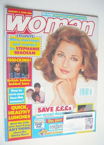 <!--1990-08-06-->Woman magazine - Stephanie Beacham cover (6 August 1990)