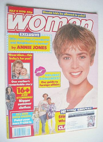 <!--1990-07-09-->Woman magazine - Annie Jones cover (9 July 1990)