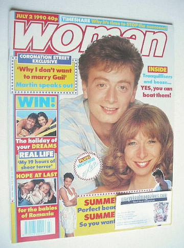 <!--1990-07-02-->Woman magazine - Sean Wilson and Helen Worth cover (2 July