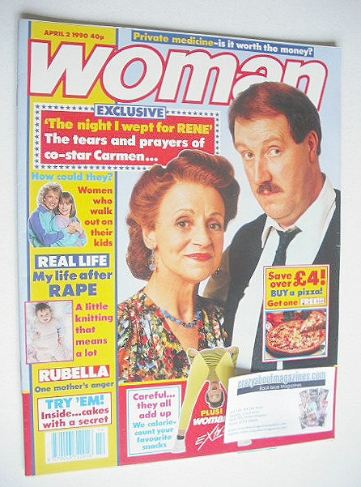 <!--1990-04-02-->Woman magazine - Carmen Silvera and Gorden Kaye cover (2 A