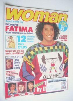 Woman magazine - Fatima Whitbread cover (16 August 1988)