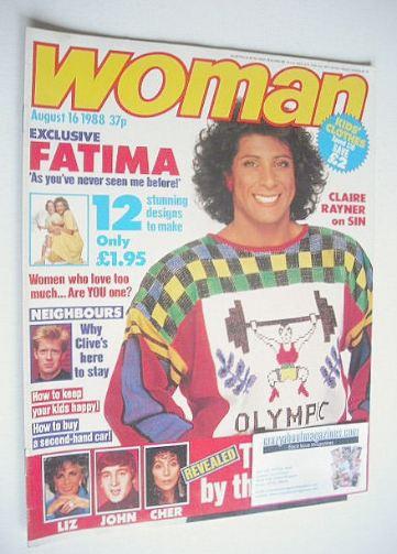 <!--1988-08-16-->Woman magazine - Fatima Whitbread cover (16 August 1988)