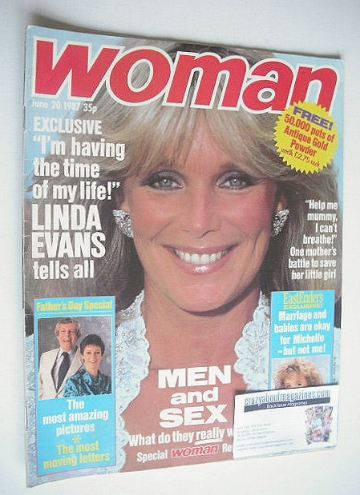 <!--1987-06-20-->Woman magazine - Linda Evans cover (20 June 1987)
