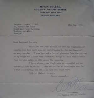 Sir William (Billy) Butlin autograph