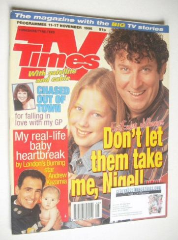 <!--1995-11-11-->TV Times magazine - Paul Bradley and Gemma Bissix cover (1