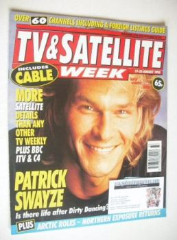 TV & Satellite Week magazine - Patrick Swayze cover (19-25 August 1995)