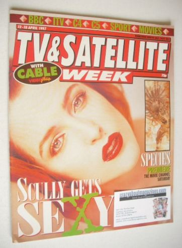 <!--1997-04-18-->TV & Satellite Week magazine - Gillian Anderson cover (12-