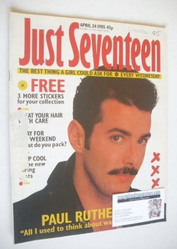 <!--1985-04-24-->Just Seventeen magazine - 24 April 1985 - Paul Rutherford