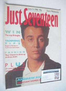 Just Seventeen magazine - 11 June 1986 - Andrew Ridgeley cover