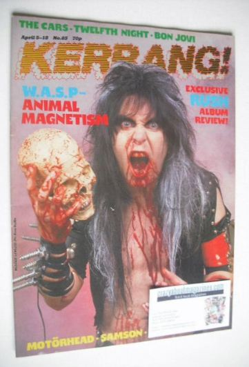 <!--1984-04-05-->Kerrang magazine - Blackie Lawless cover (5-18 April 1984