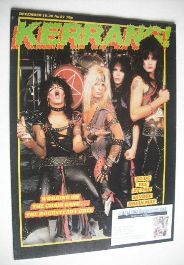 <!--1983-12-15-->Kerrang magazine - Motley Crue cover (15-28 December 1983