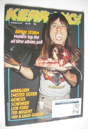 <!--1983-10-06-->Kerrang magazine - Bruce Dickinson cover (6-19 October 198