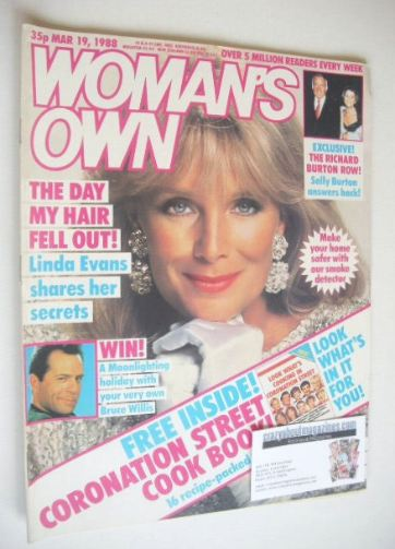 <!--1988-03-19-->Woman's Own magazine - 19 March 1988 - Linda Evans cover