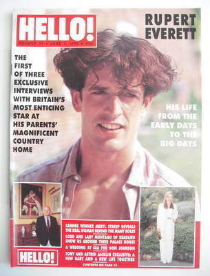 <!--1989-06-03-->Hello! magazine - Rupert Everett cover (3 June 1989 - Issu