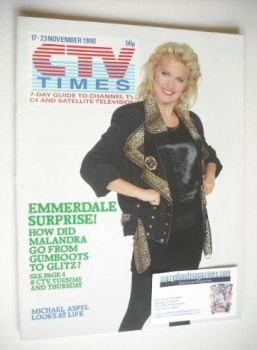 CTV Times magazine - 17-23 November 1990 - Malandra Burrows cover