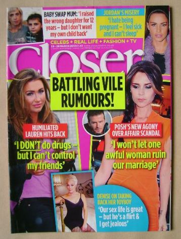 <!--2013-03-23-->Closer magazine - Battling Vile Rumours! cover (23-29 Marc