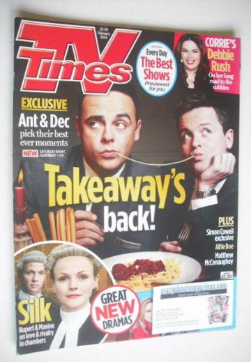 <!--2014-02-22-->TV Times magazine - Ant and Dec cover (22-28 February 2014