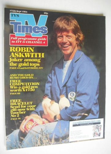 <!--1984-09-15-->TV Times magazine - Robin Askwith cover (15-21 September 1