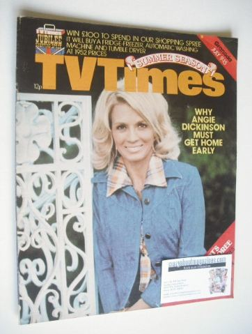 <!--1977-07-09-->TV Times magazine - Angie Dickinson cover (9-15 July 1977)