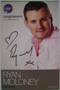 Ryan Moloney autograph (Neighbours actor)