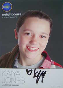 Kaiya Jones autograph (Neighbours actor)