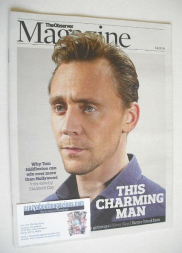 <!--2016-01-24-->The Observer magazine - Tom Hiddleston cover (24 January 2
