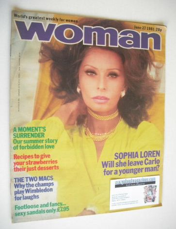 <!--1981-06-27-->Woman magazine - Sophia Loren cover (27 June 1981)