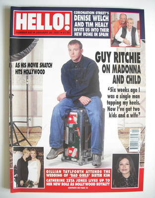 <!--2001-01-30-->Hello! magazine - Guy Ritchie cover (30 January 2001 - Iss