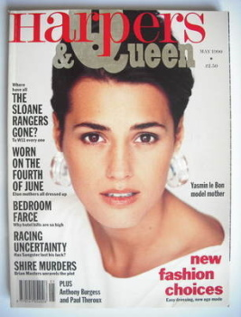 British Harpers & Queen magazine - May 1990 - Yasmin Le Bon cover