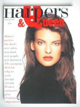 British Harpers & Queen magazine - August 1988 - Linda Evangelista cover