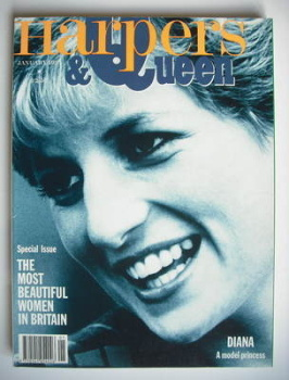 British Harpers & Queen magazine - January 1991 - Princess Diana cover