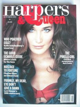 British Harpers & Queen magazine - October 1991 - Carla Bruni cover