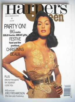 British Harpers & Queen magazine - December 1992 - Yasmeen Ghauri cover