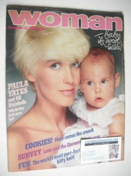 Woman magazine - Paula Yates and Fifi Trixiebelle cover (12 November 1983)