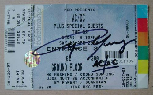 Angus Young autograph (hand-signed concert ticket)