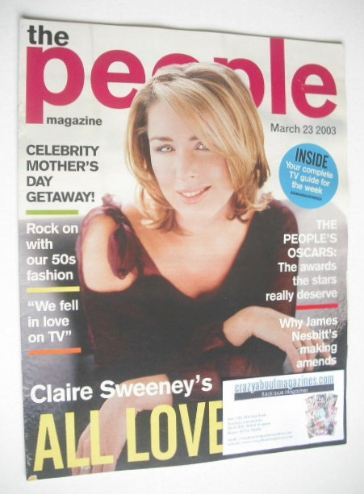 <!--2003-03-23-->People magazine - 23 March 2003 - Claire Sweeney cover