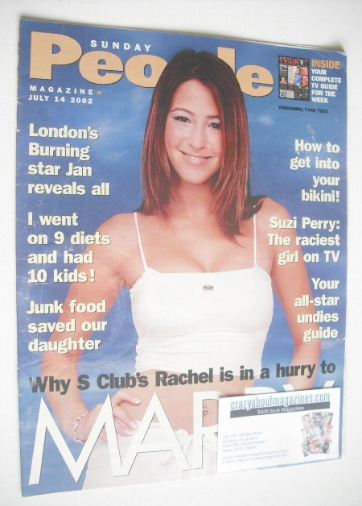 <!--2002-07-14-->Sunday People magazine - 14 July 2002 - Rachel Stevens cov