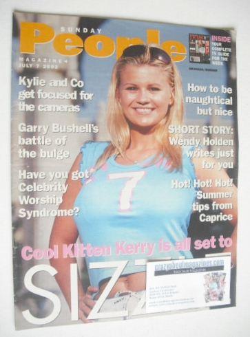 <!--2002-07-07-->Sunday People magazine - 7 July 2002 - Kerry Katona cover