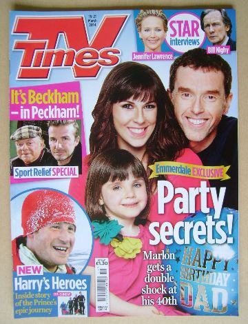 <!--2014-03-15-->TV Times magazine - Verity Rushworth and Mark Charnock cov