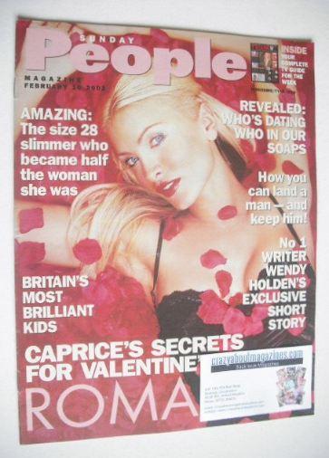 <!--2002-02-10-->Sunday People magazine - 10 February 2002 - Caprice cover