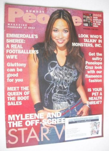 <!--2002-02-17-->Sunday People magazine - 17 February 2002 - Myleene Klass