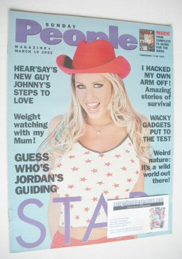 <!--2002-03-10-->Sunday People magazine - 10 March 2002 - Katie Price cover