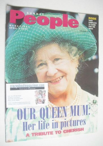 <!--2002-04-07-->Sunday People magazine - 7 April 2002 - The Queen Mother c